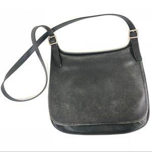 Coach VTG 9134 Black Leather Slim Hippie Flap Bag
